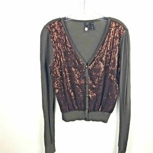 BKE Boutique Women's M  V-neck Sequin Cardigan